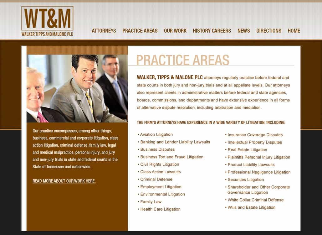 Walker Tipps Malone Attorney Website Design
