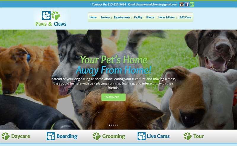 Paws and Claws TN Nashville Website Design